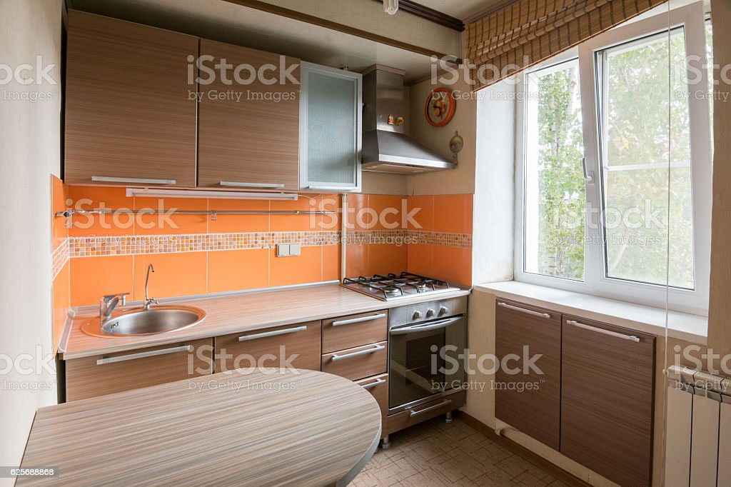 The interior of an empty kitchen equipment for sale stock photo