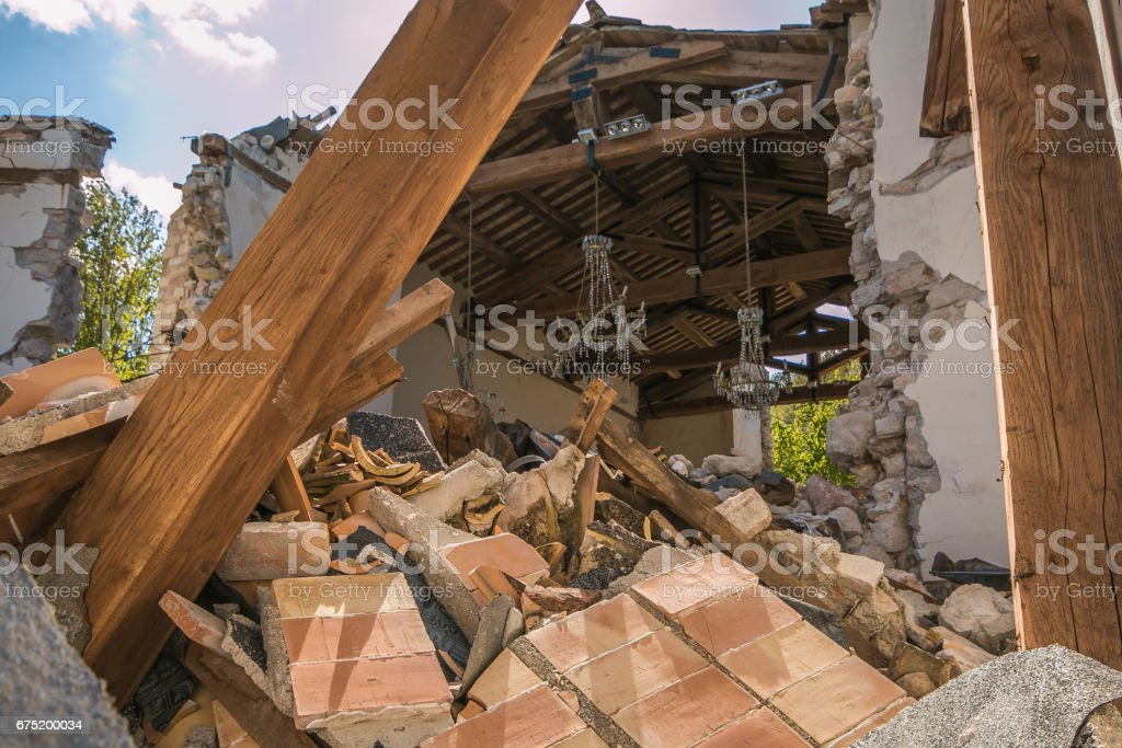 The interior of church damaged by earthquake stock photo