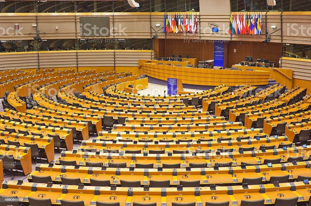 The interior of European Parliament hemicycle  in Brussels, Belgium stock photo