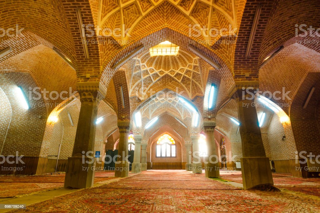 The interior of  Jameh Mosque of Tabriz or Tabriz central mosque located in the Bazaar suburb of Tabriz stock photo