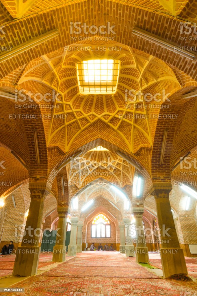 The interior of  Jameh Mosque of Tabriz or Tabriz central mosque located in the Bazaar suburb of Tabriz next to the Grand Bazaar of Tabriz and the Constitutional House of Tabriz.Iran. stock photo