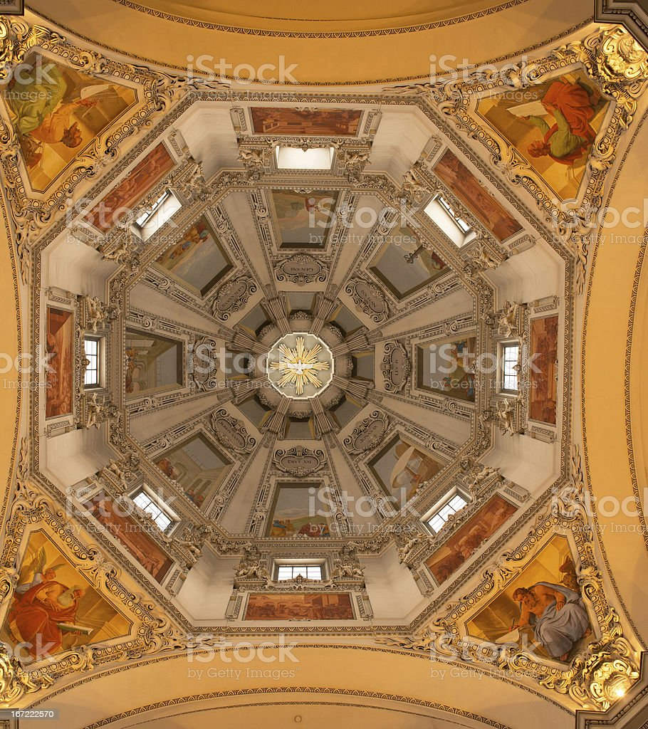The Interior of Salzburg Cathedral stock photo