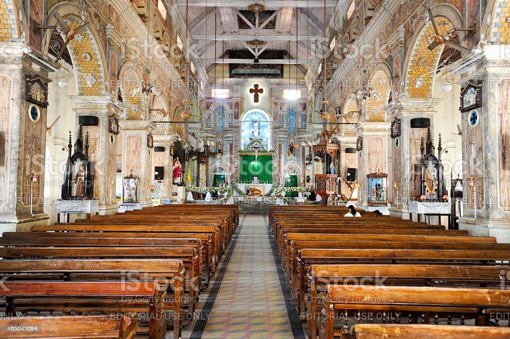 The interior of Santa Cruz Cathedral at Fort Cochin stock photo