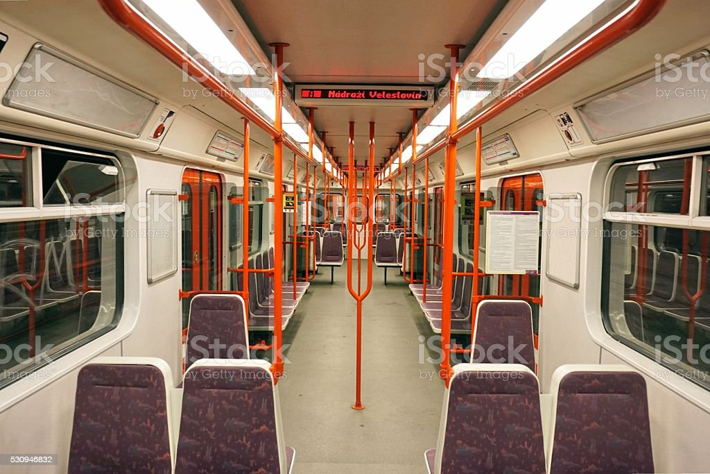 The interior of the subway (underground, metro) carriage in Prague stock photo