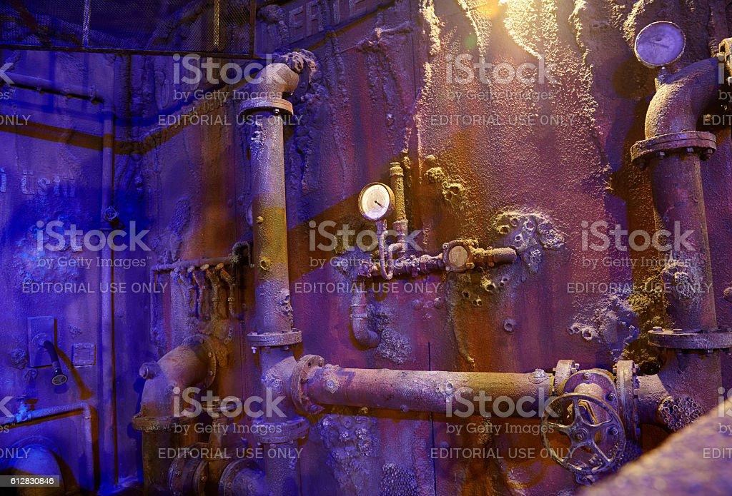 The interior of the sunken ship. Istanbul Aquarium. stock photo