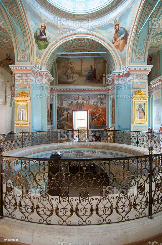 The interior of Trinity Church Svyatouspenski monastery in Staritsa, Russia stock photo