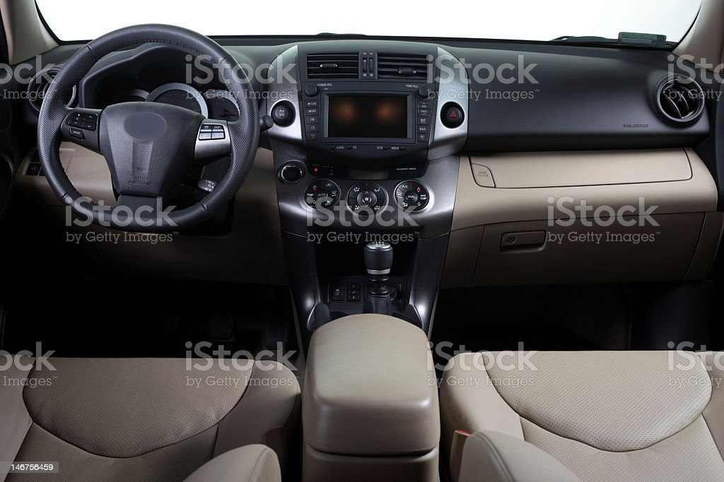 The interior, seen from above, of a modern car royalty-free stock photo