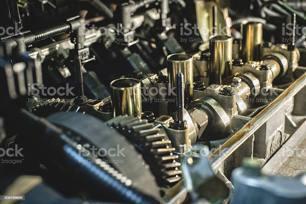 The internal combustion engine exploded stock photo