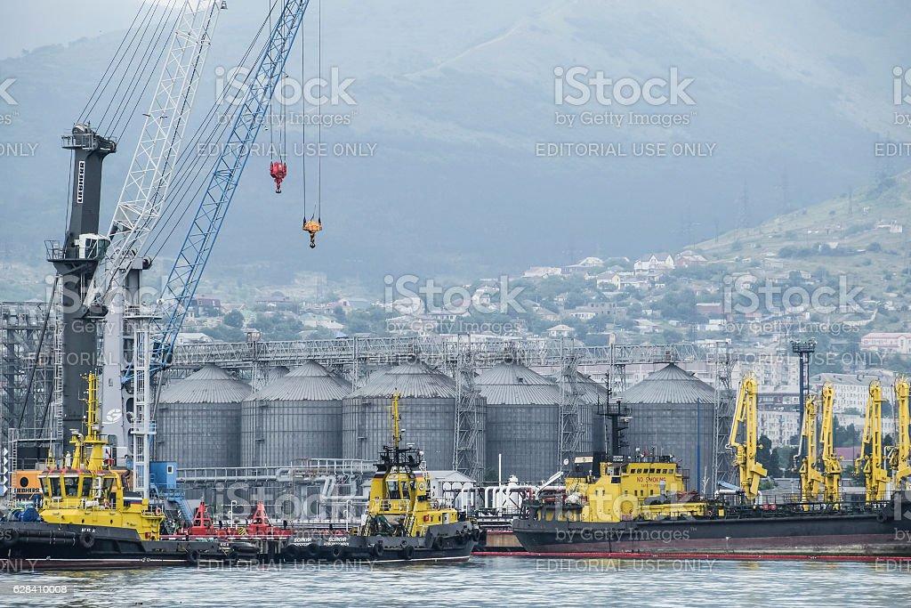 The international sea port of Novorossiysk stock photo