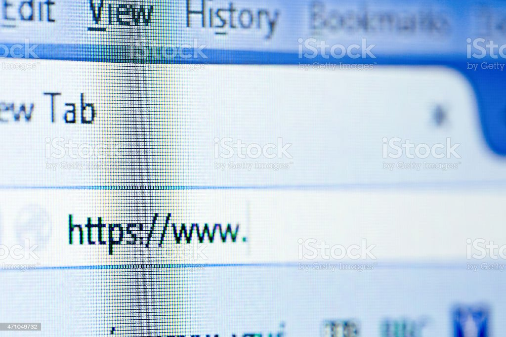 The Internet address bar on a computer stock photo