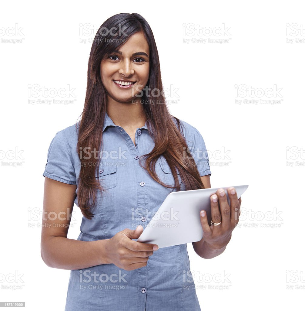 The internet at her fingertips royalty-free stock photo