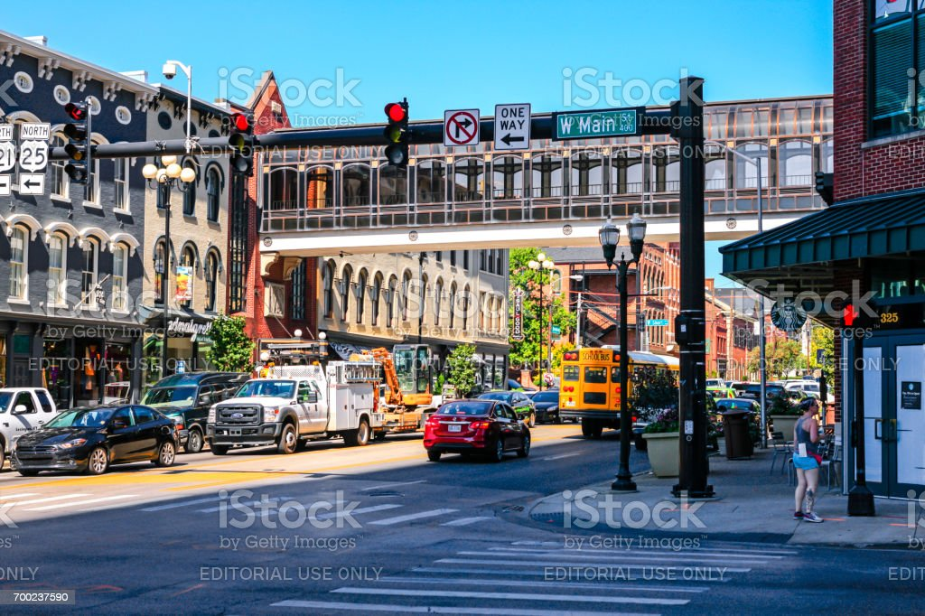 The Intersection of Main and S Broadway in downtown Lexington KY, USA stock photo