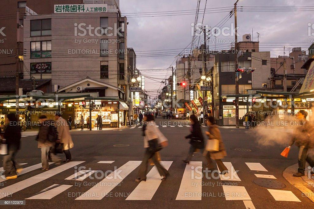 The intersection of Shijo Dori and Yamato Oji Dori, Kyoto stock photo
