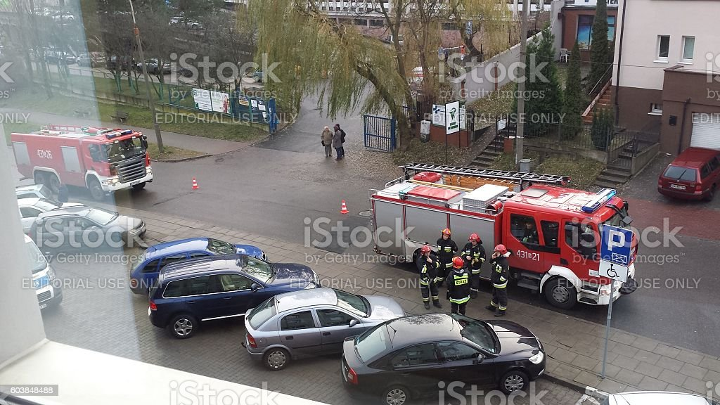 The intervention of the fire brigade stock photo