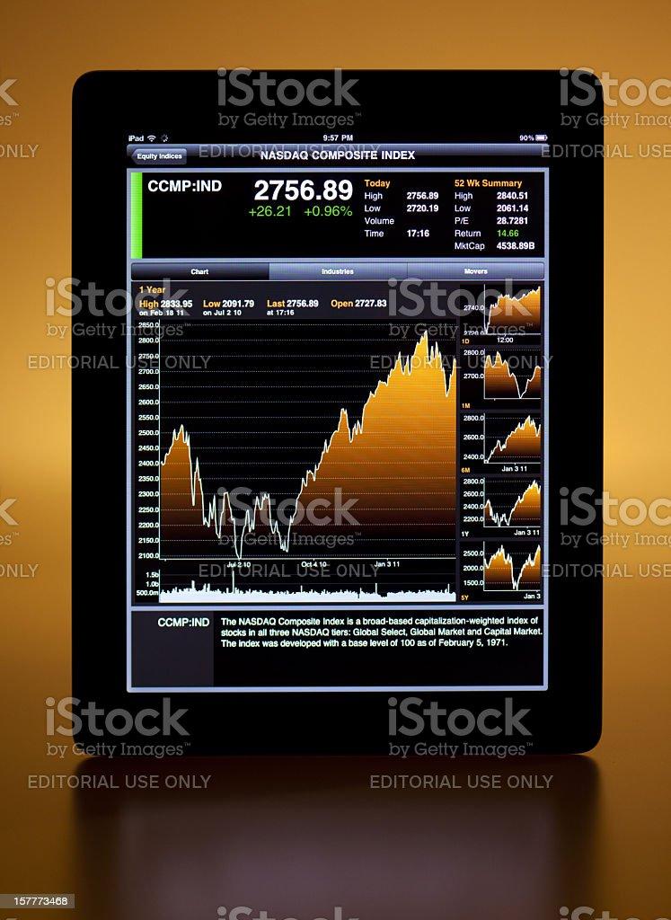 the iPad 2 and nasdaq index royalty-free stock photo