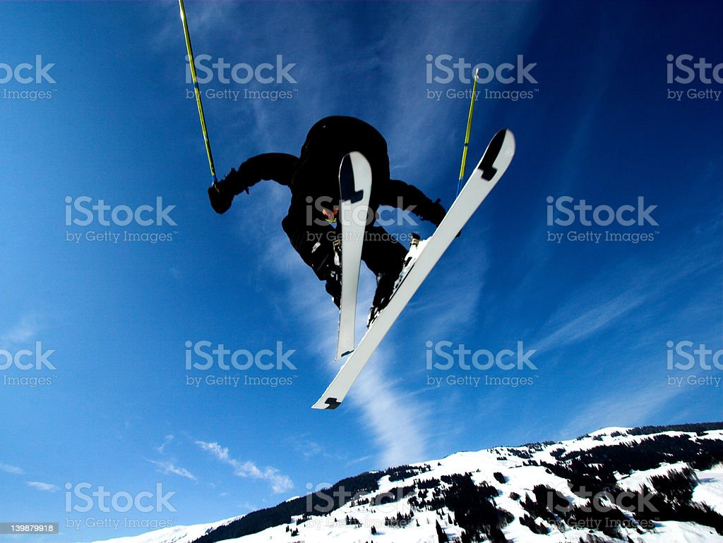 The iron cross..with skis stock photo