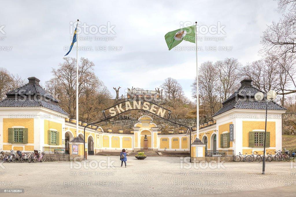 The island of Djurgarden, Stockholm. Entrance to the park Skanse stock photo