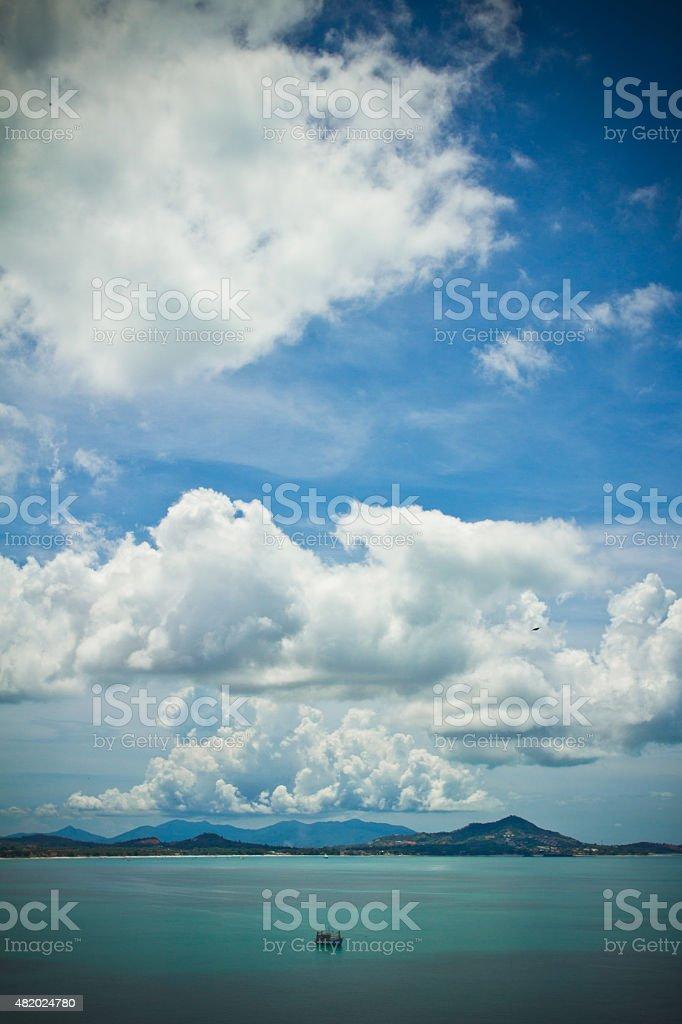 The island of Ko Samui with blue sky, Thailand stock photo