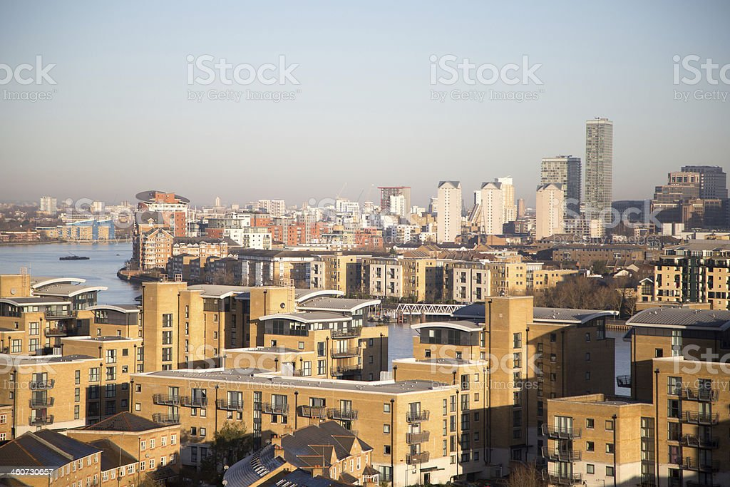The Isle of Dogs from Greenwich stock photo