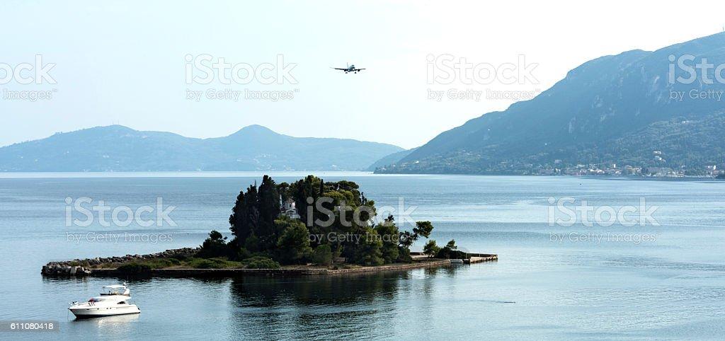 The islet of Pontikonisi. Corfu island, Greece. stock photo