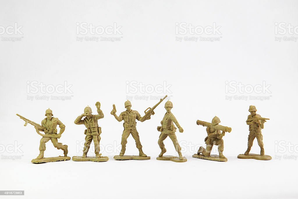 The isolated image of a group soldiers stock photo