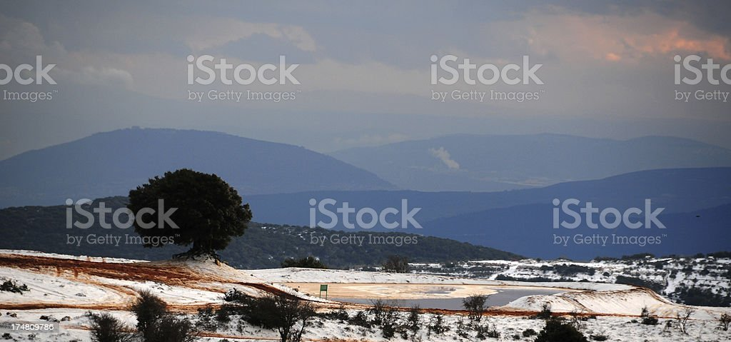 The Israeli Galilee after a winter snowstorm stock photo