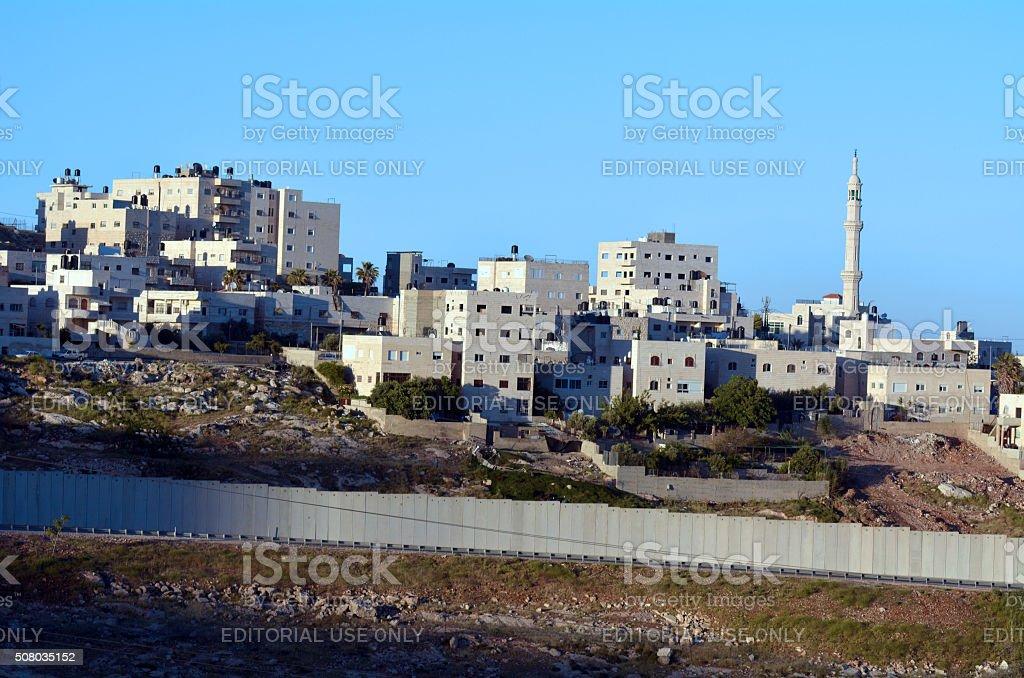The Israeli West Bank barrier stock photo
