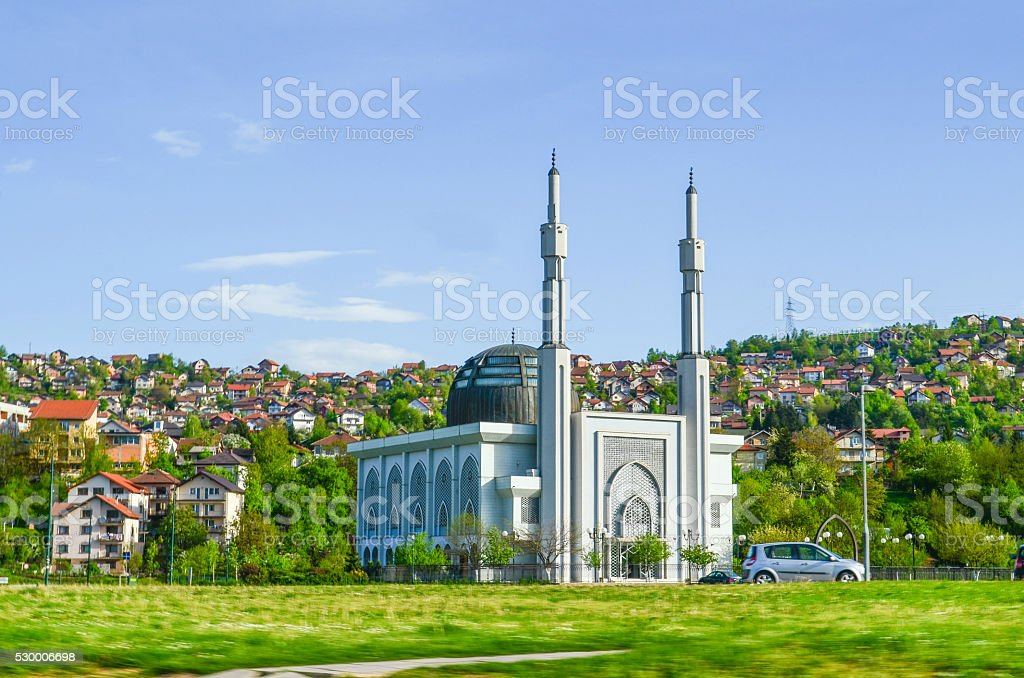 The Istiqlal mosque in Sarajevo suburbs stock photo