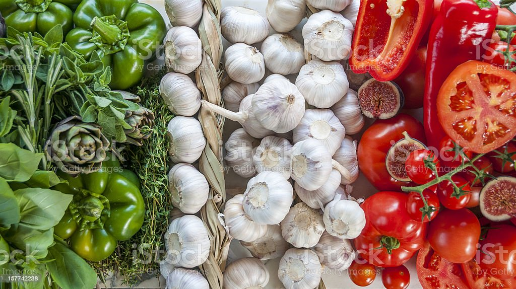 The Italian Flag Made Up Of Fresh Vegetables stock photo