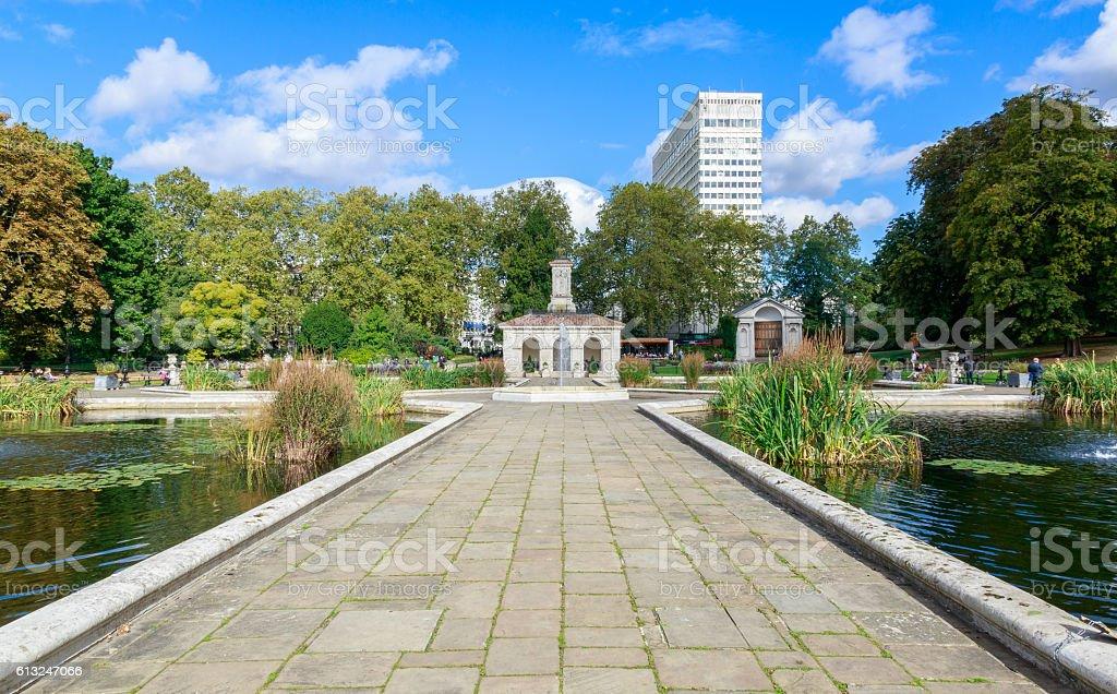 The Italian Gardens at Hyde Park stock photo
