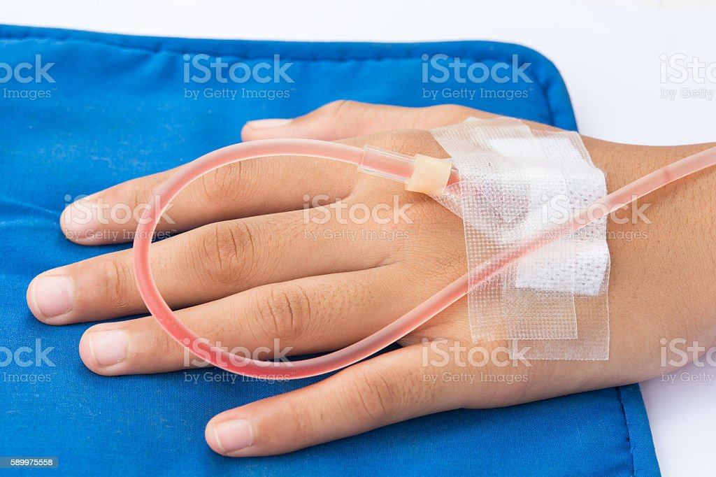the IVs for in hand patient stock photo