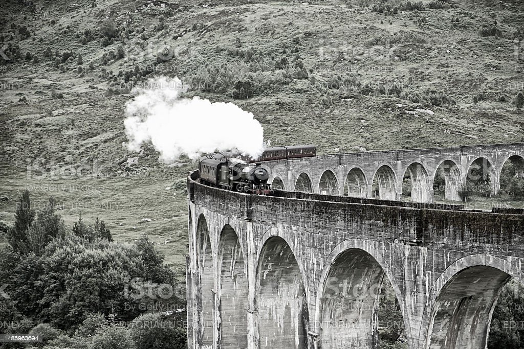 The Jacobite Locomotive And Glenfinnan Viaduct stock photo