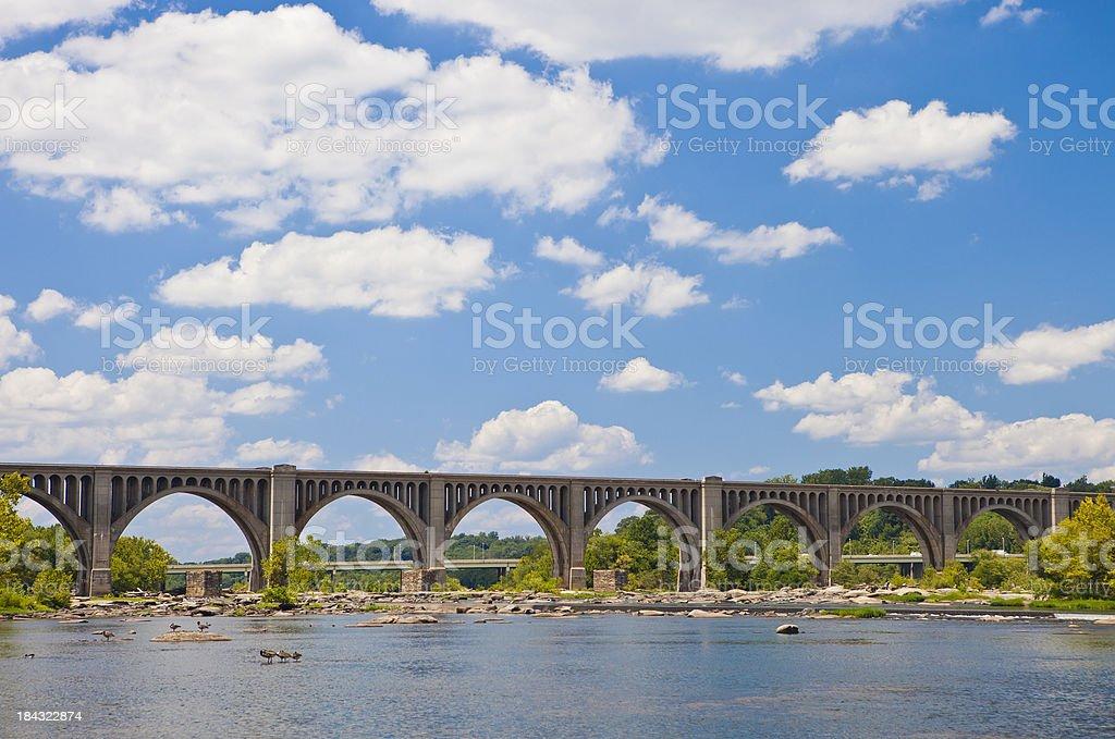 The James River Railway Bridge In Richmond, Virginia stock photo