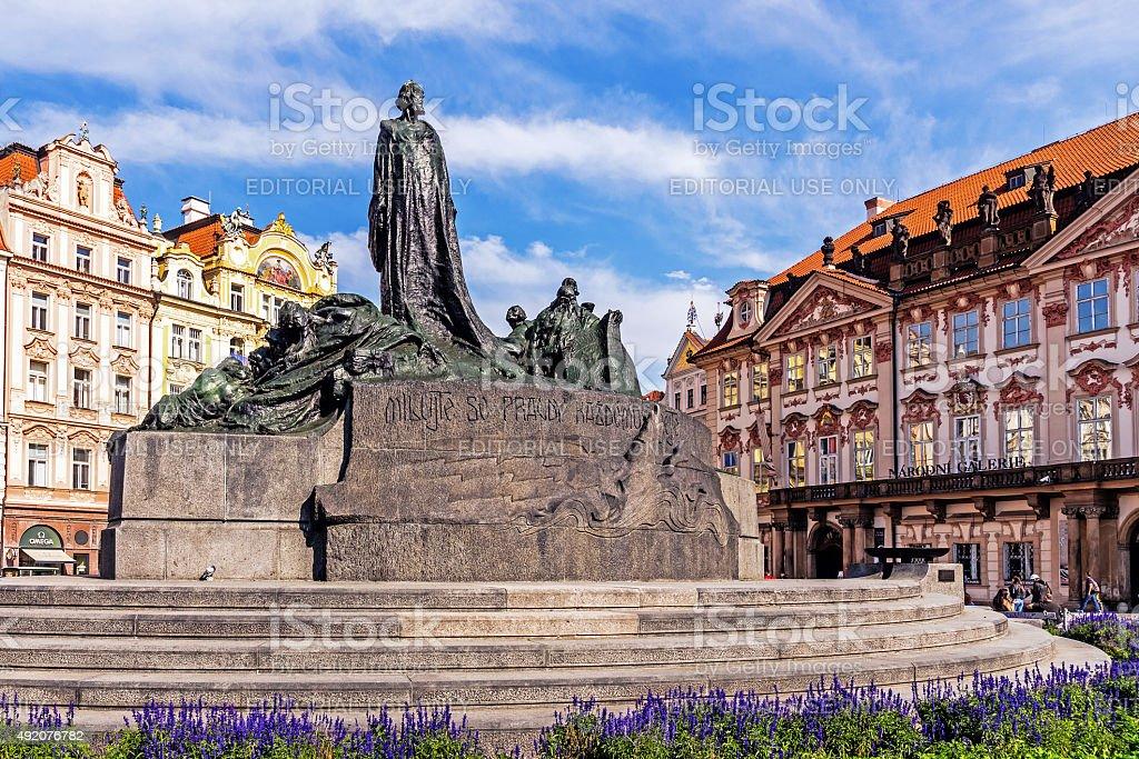 The Jan Hus Memorial stock photo