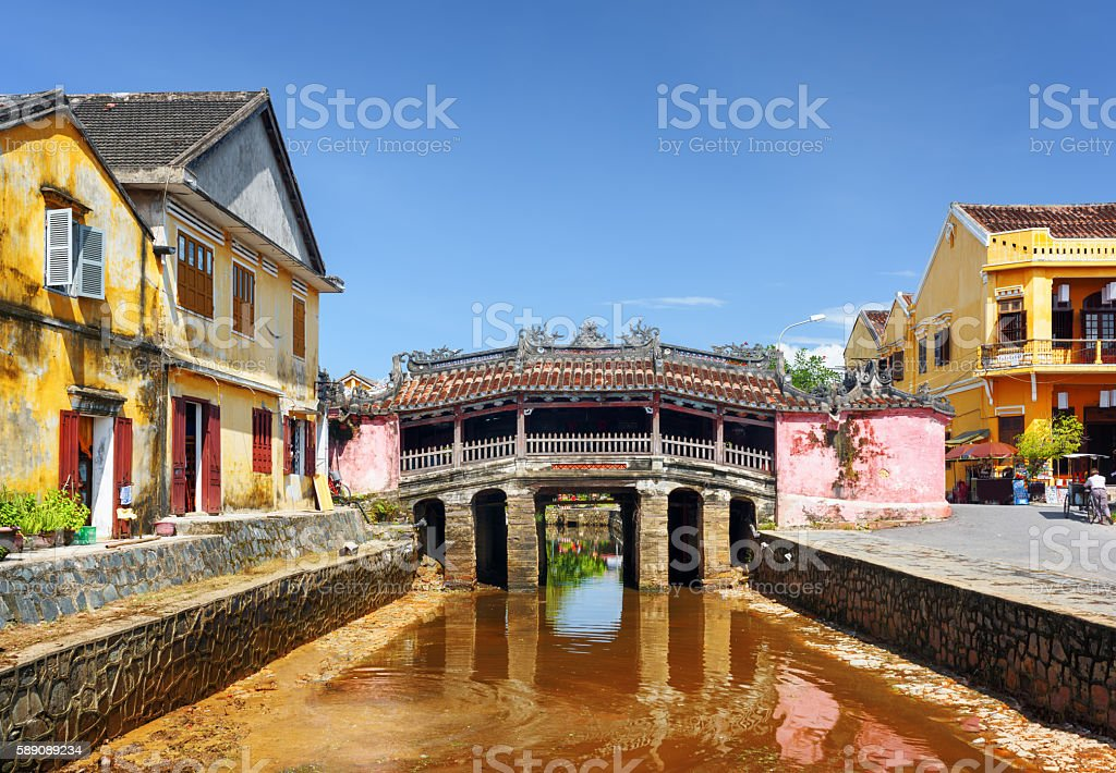 The Japanese Covered Bridge in Hoi An Ancient Town, Vietnam stock photo