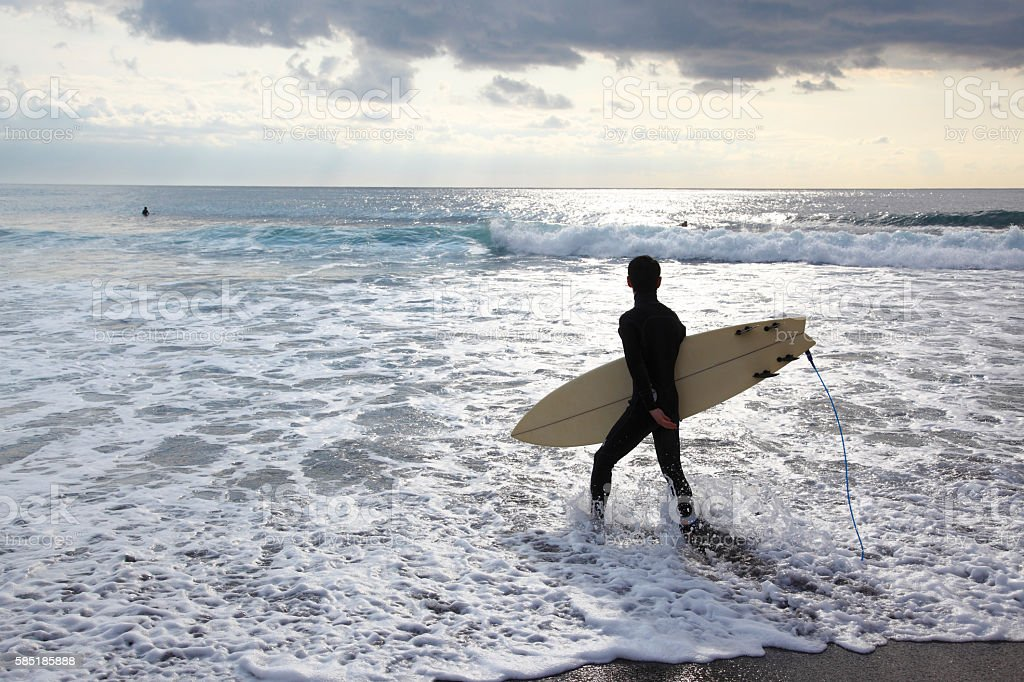 The Japanese who surfs stock photo