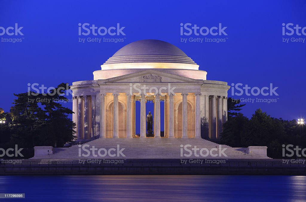 The Jefferson memorial in Washington, DC at night stock photo