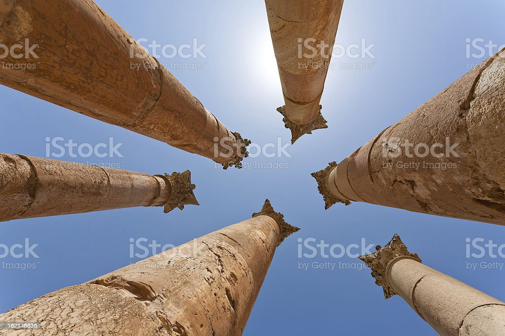 The Jerash Temple of Artemis in Jordan royalty-free stock photo