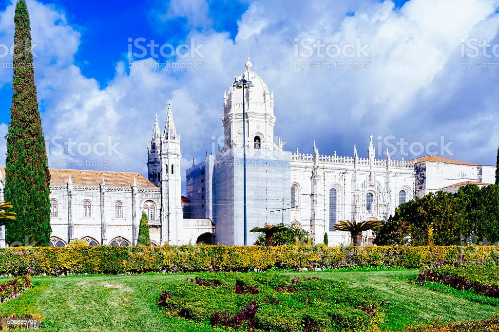 The Jeronimos Monastery or Hieronymites Monastery is located in stock photo