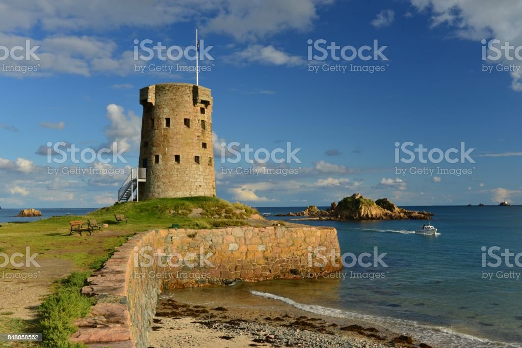 The Jersey Round Tower at Le Hocq , Jersey, U.K. stock photo