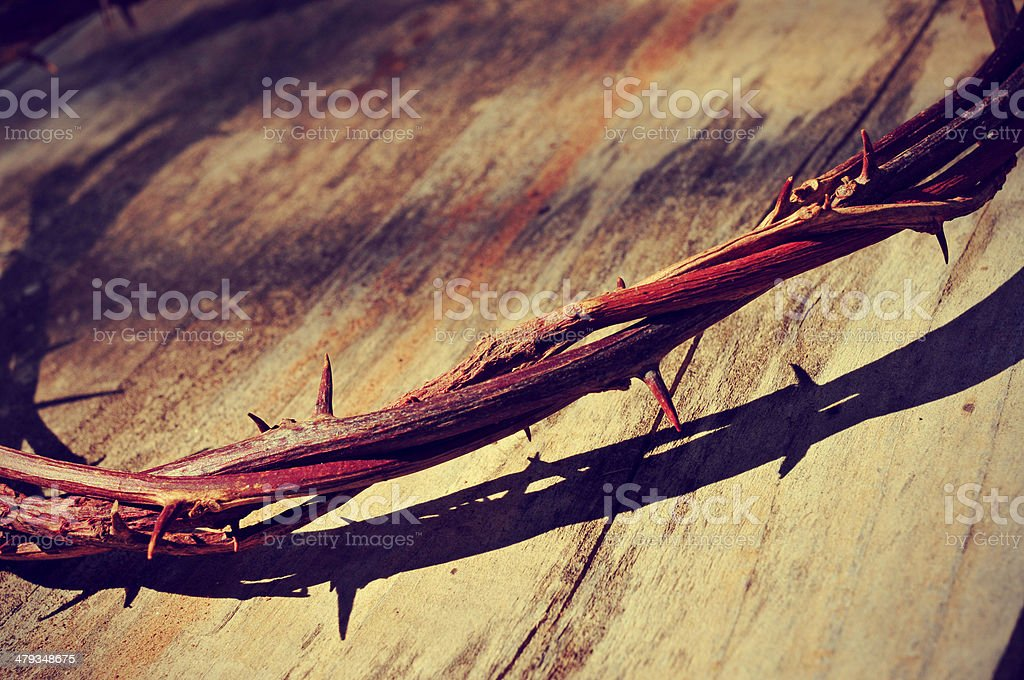 the Jesus Christ crown of thorns stock photo