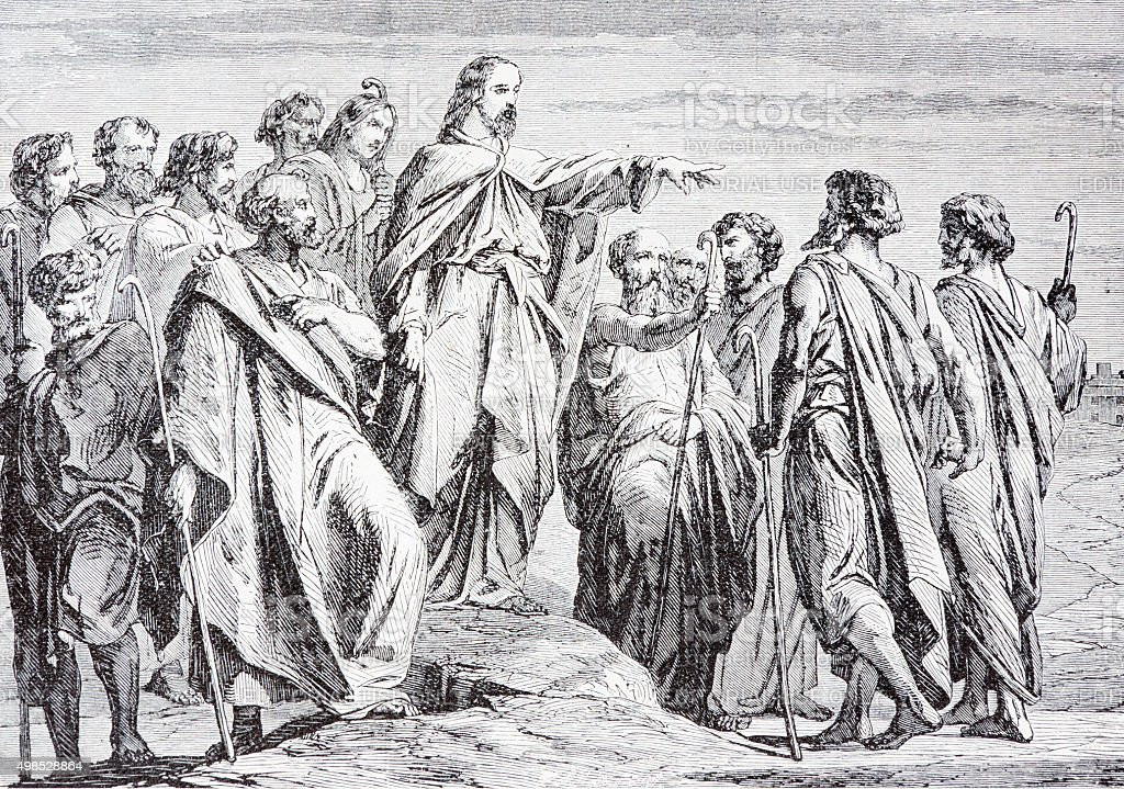The Jesus Sends Out His Disciples - lithography stock photo