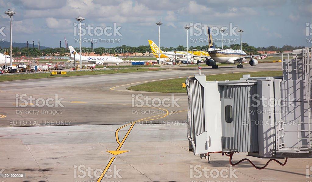 Changi, Singapore - January 12, 2016:The jetway at Changi Airport stock photo