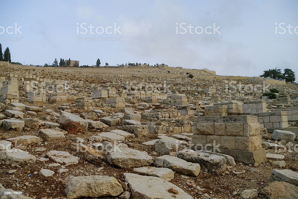 The Jewish cemetery on the Mount of Olives covers stock photo