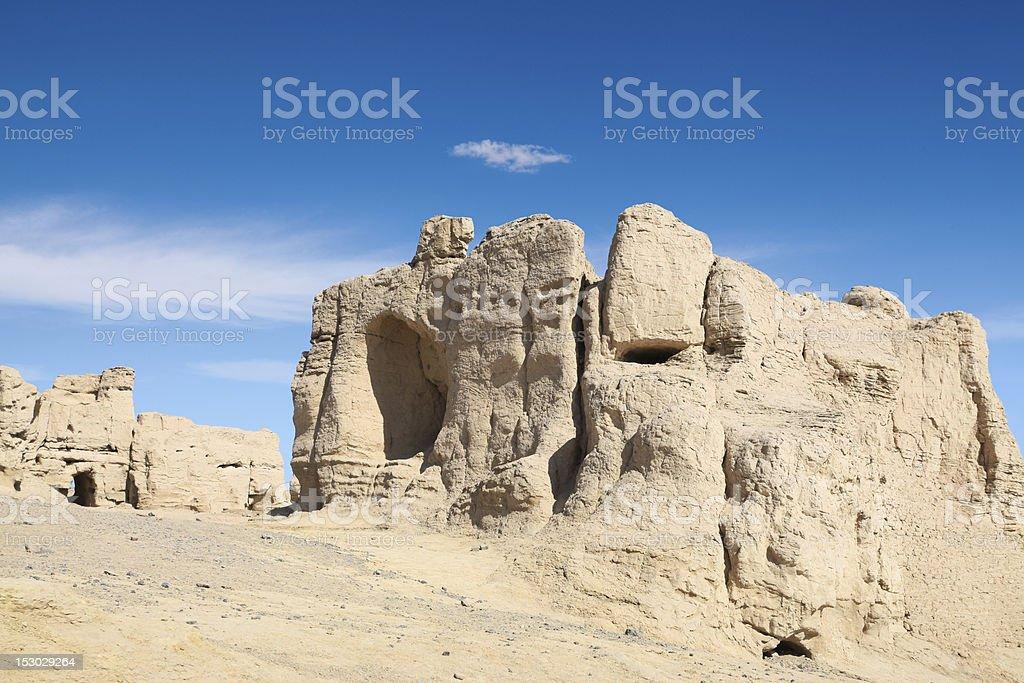 the jiaohe ruins against a blue sky stock photo