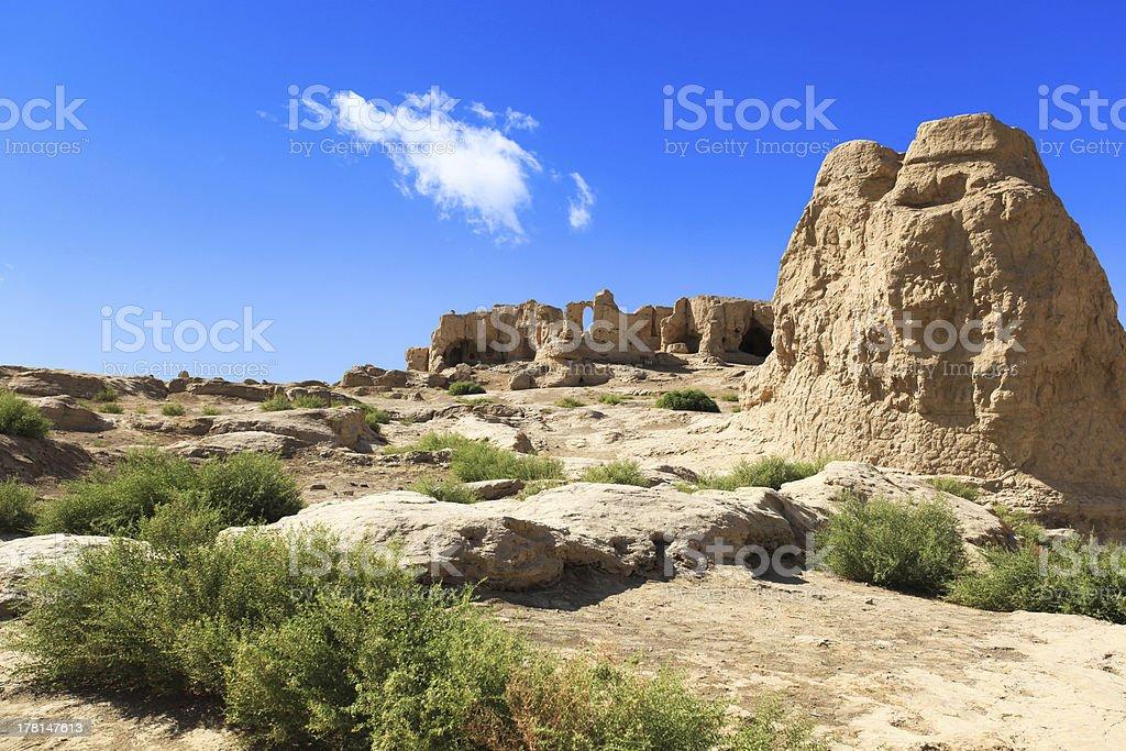 the jiaohe ruins in turpan stock photo