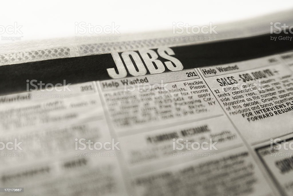 The jobs in the classified section of the newspaper stock photo