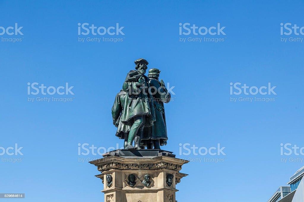 The Johannes Gutenberg monument on the southern Rossmark stock photo