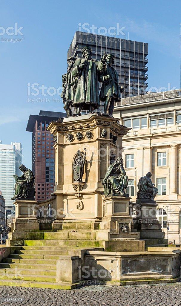 The Johannes Gutenberg monument on the southern Rossmarkt stock photo