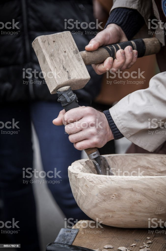 The joiner behind work stock photo